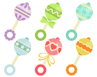 Baby Rattle Toy Digital Clip Art For Scrapbooking Card Making Cupcake  Toppers Paper Crafts