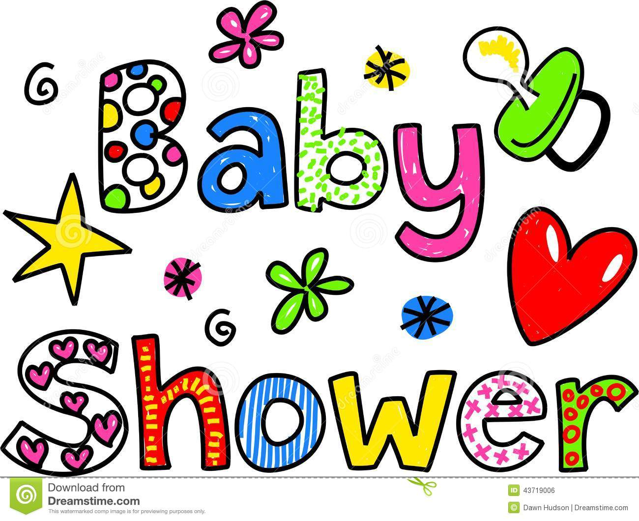Baby Shower Cartoon Text Clipart Stock Illustration Image 43719006