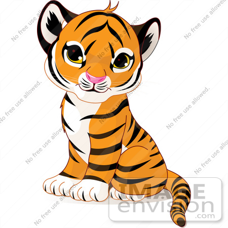 #56184 Royalty-Free (RF) Clip Art Of An Adorable Baby Tiger Cub