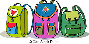 . hdclipartall.com Three Vector Colorful Children Backpacks Isolated on White.