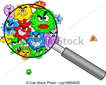 ... bacteria under a magnifying glass - vector illustration of... ...