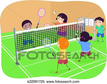 Clipart - Badminton Doubles. Fotosearch - Search Clip Art, Illustration  Murals, Drawings and