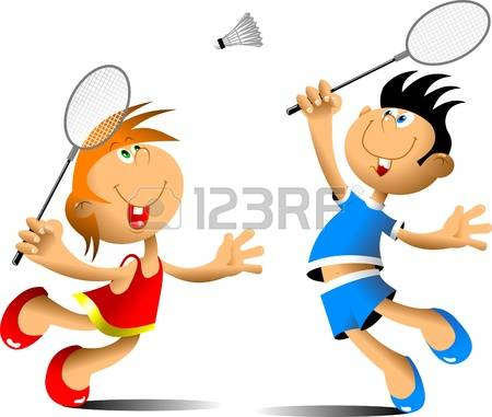 little girl and boy playing badminton Illustration