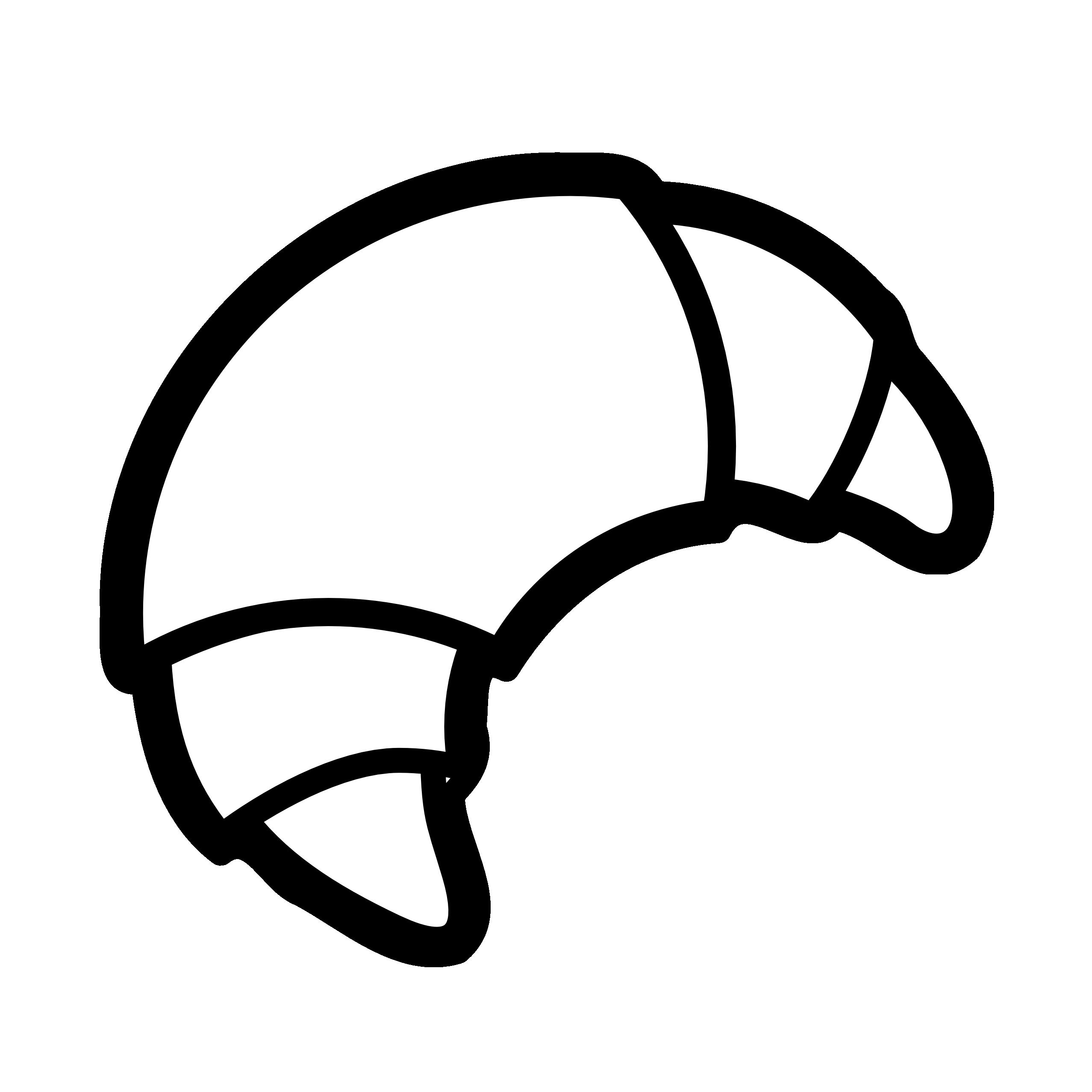 Bakery Croissant Black White Line Art Scalable Vector Graphics Svg