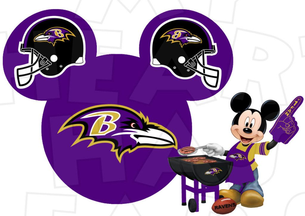 Baltimore Ravens football with Mickey Mouse INSTANT DOWNLOAD digital clip  art :: My Heart Has