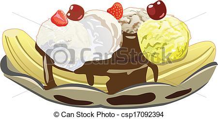 ... Banana Split - Banana split with three ice cream scoops