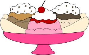 Banana Split Clip Art - banana split in a pink ice cream dish with one  scoop of chocolate ice cream, one scoop of vanilla ice cream and one scoop  of vanilla ...
