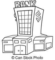 ... Bank - Black and White Cartoon illustration, Vector