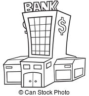 ... Bank - Black and White Cartoon illustration, Vector