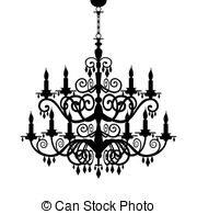 Baroque chandelier silhouette - Baroque decorative.