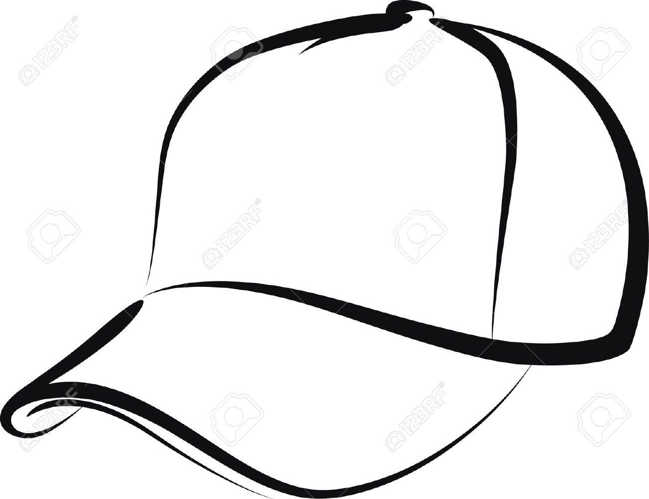 Baseball Hat Clipart Black And White