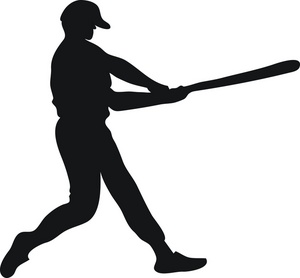 Baseball Clipart Image: Batter Swinging a Baseball Bat at a Pitch