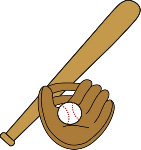 Baseball Clipart Image: clip art image of a baseball bat, glove, and ball
