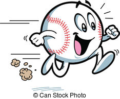 Baseball Clipart Vectorby magurok4/269 Happy Running Baseball with Big Smile