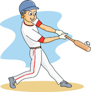 baseball player at bat hitting ball. Size: 86 Kb
