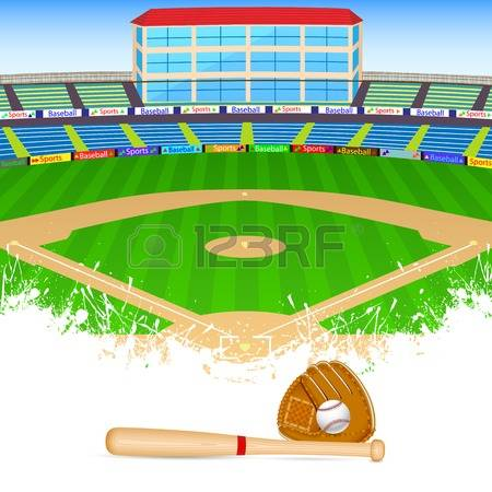 baseball field: vector illustration of baseball field with bat, ball and  gloves