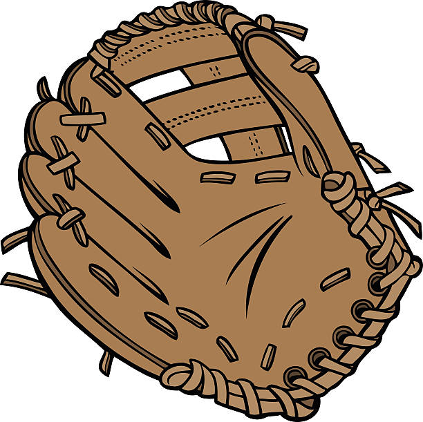 Cartoon picture of brown baseball glove vector art illustration
