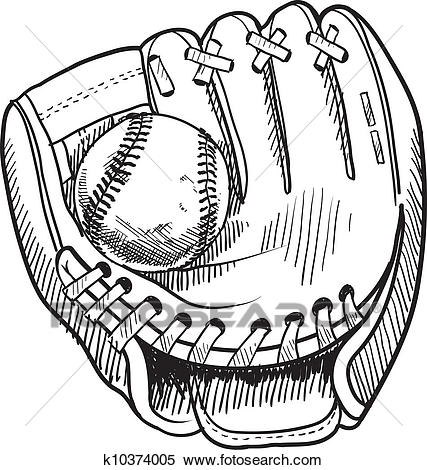 Clipart - Baseball glove sketch. Fotosearch - Search Clip Art, Illustration  Murals, Drawings