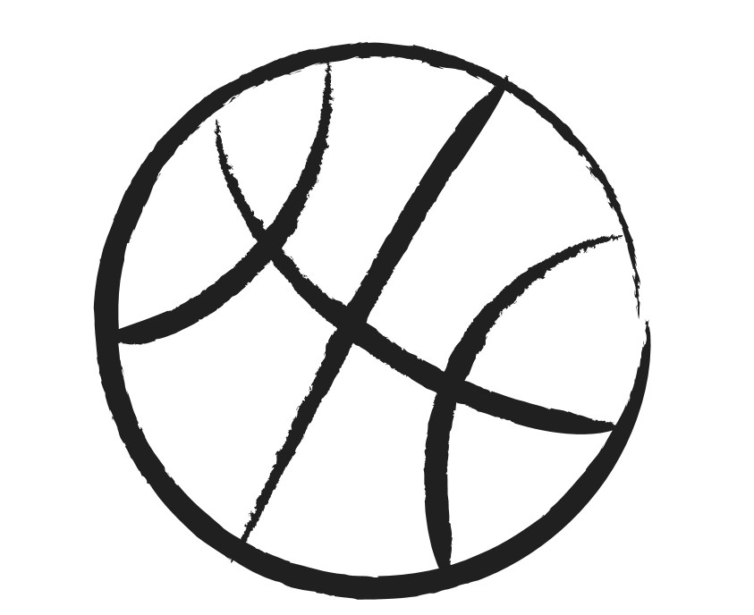 Basketball black and white .