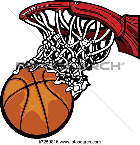 Basketball Hoop with Basketba - Basketball Clipart