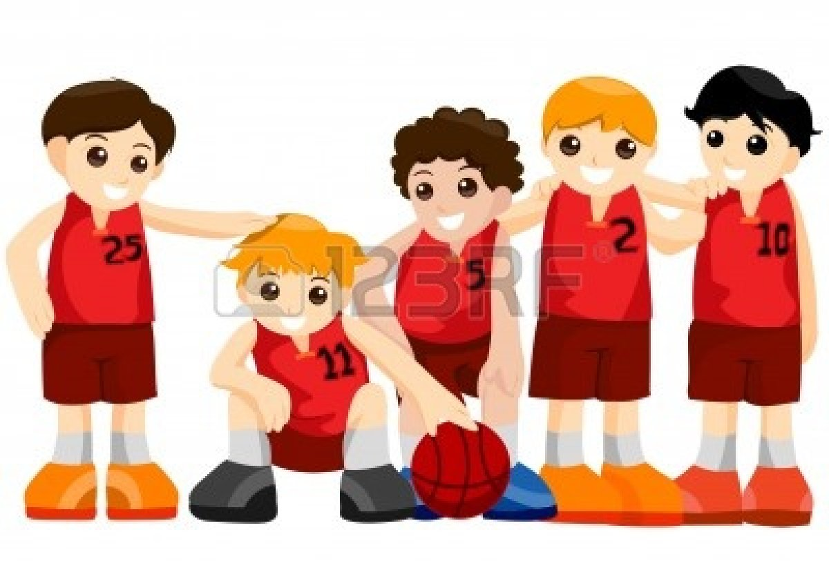 Basketball team clipart: Basketball Team with Clipping