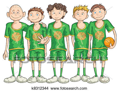 Clipart - Basketball Team. Fotosearch - Search Clip Art, Illustration  Murals, Drawings and
