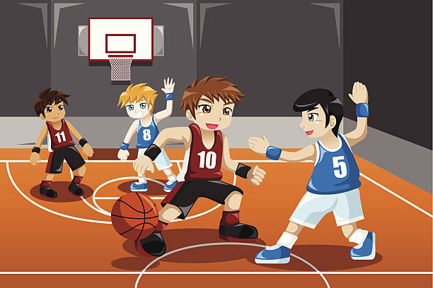 Kids playing basketball vector art illustration