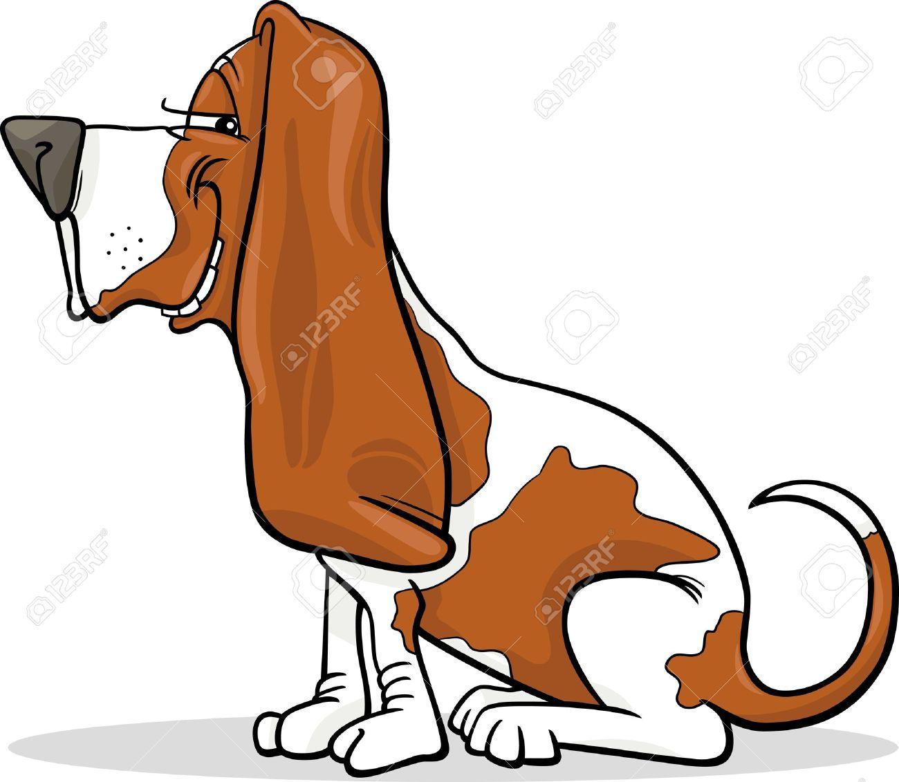 Cartoon Illustration of Funny Purebred Spotted Basset Hound Dog Stock  Vector - 16213938