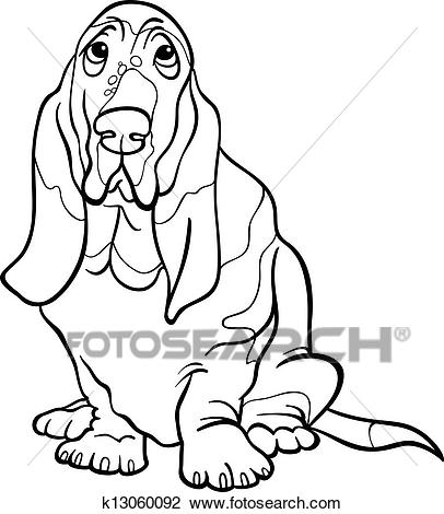 Clipart - basset hound dog cartoon for coloring book. Fotosearch - Search Clip  Art,