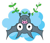 cartoon style bat with yellow eyes clipart. Size: 63 Kb