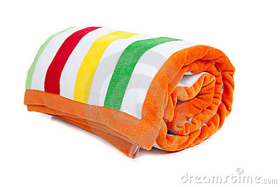 Yellow Green And Orange Striped Beach Towel On A White Background. beach  ball Clipart