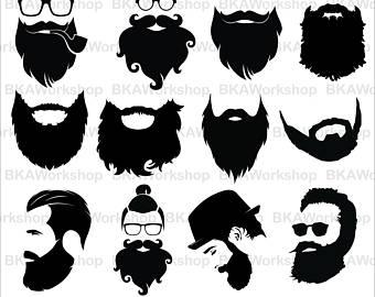 Beard svg - Long Beard svg - Long Beard clipart - Long Beard digital clipart  for