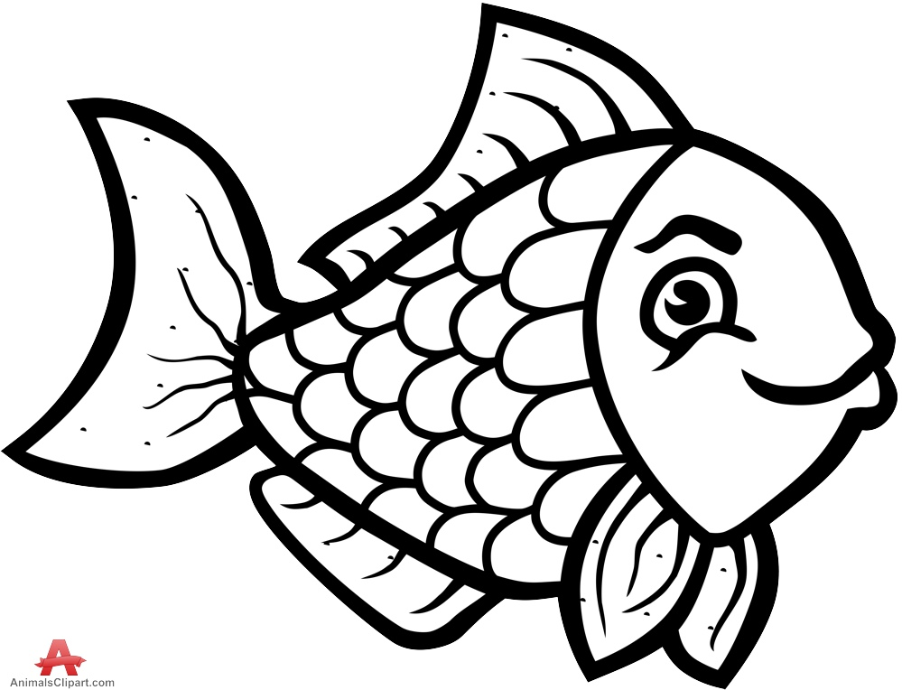 Black And White Fish Clipart