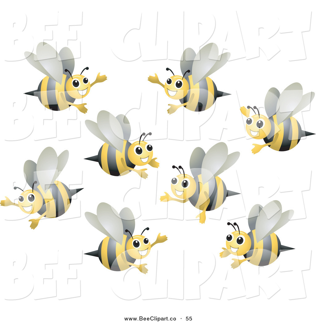 Bee Clip Art Vector Clip Art Of A Group Of Happy Bumble Bees Flying In