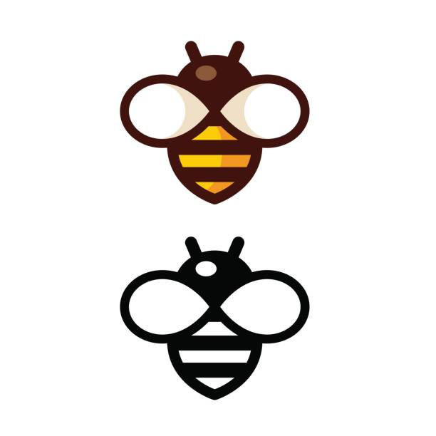 Simple Bee Logo vector art illustration