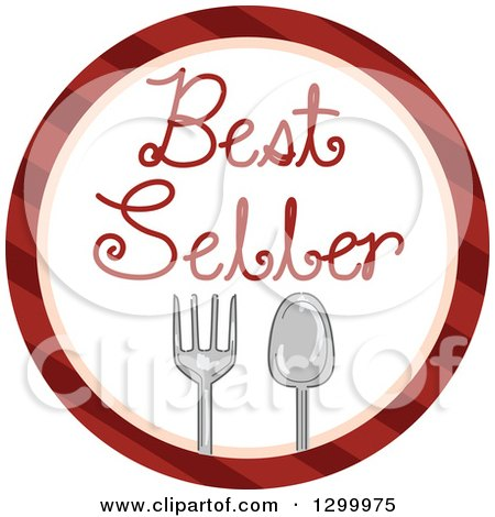 Round Striped Icon Of A Fork Spoon And Best Seller Text by BNP Design Studio