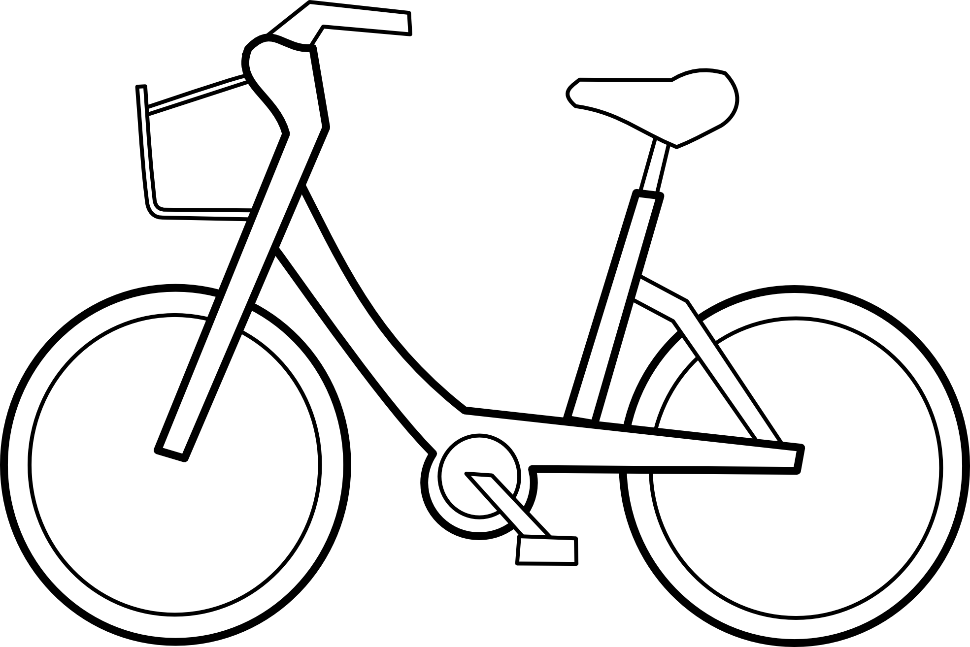 ... Bicyclette Bicycle Black White Line Art Scalable Vector Graphics SVG Inkscape Adobe Illustrator Clip Art Clipart Coloring Book Colouring 1969px.png ...