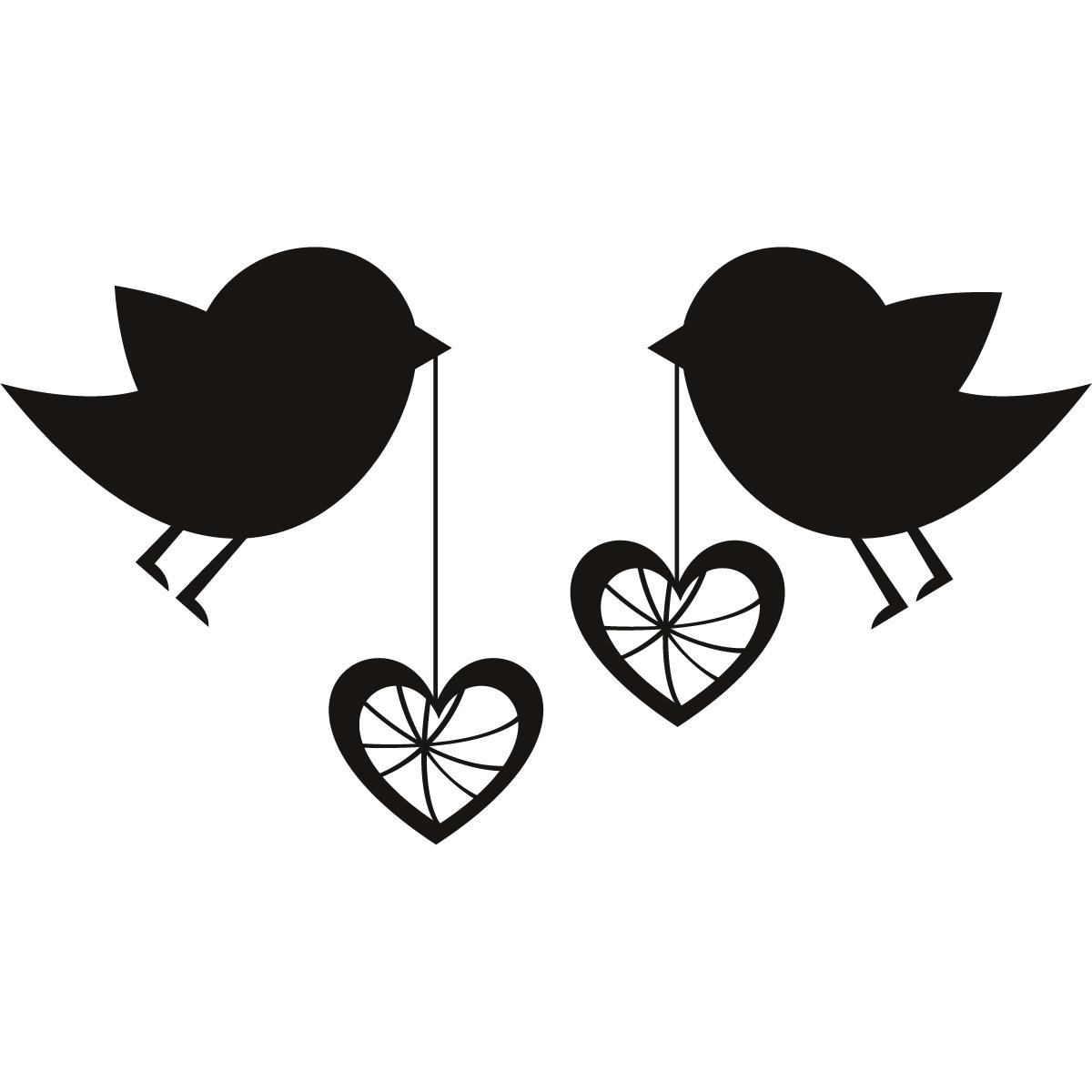 Birds With Love Hearts Wall Art Sticker Wall Decal Transfers Ebay