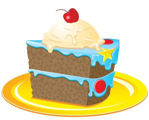 Birthday cake clip art slice .