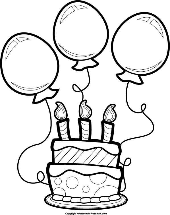 Birthday Clip Art Black And W