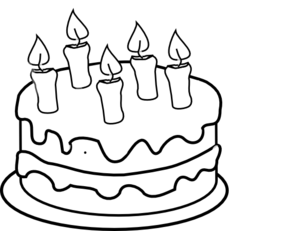 Birthday Cake Black And White Clipart #1