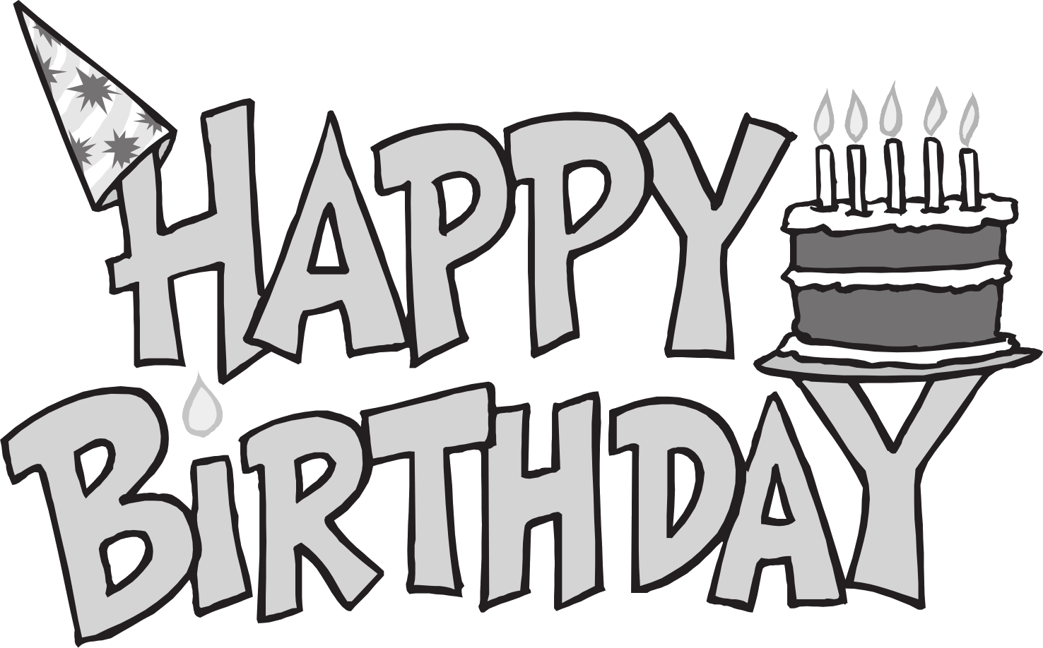 Birthday Clip Art Black And W - Birthday Clipart Black And White