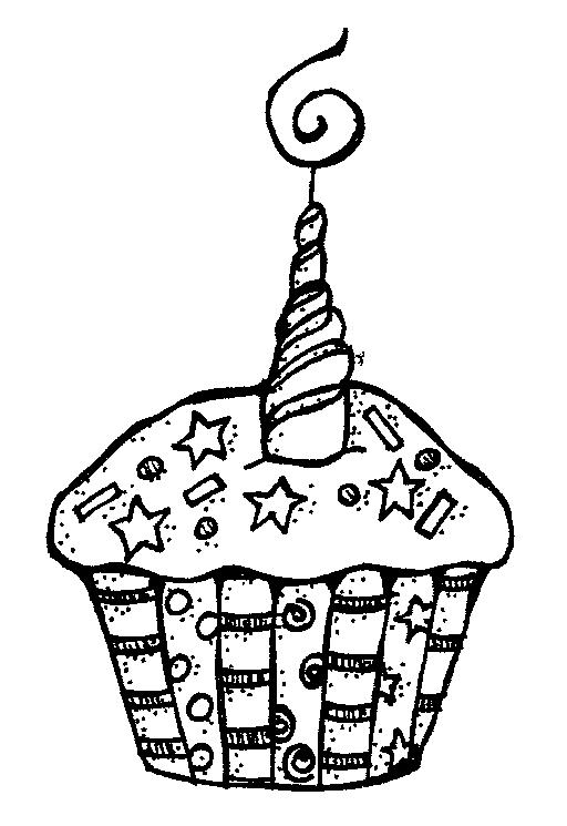 Birthday Cupcake Black And Wh - Birthday Clipart Black And White