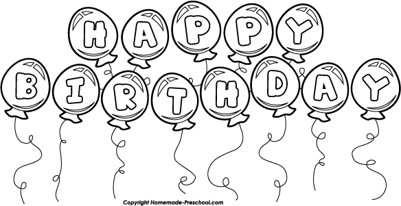 Happy Birthday Black And White Birthday Clip Art Black And White 2