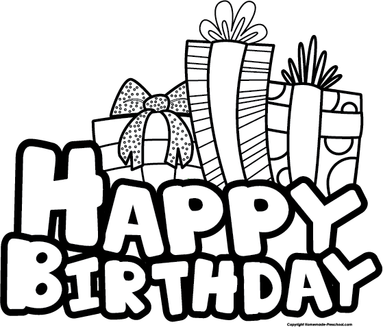 Happy Birthday Black And Whit - Birthday Clipart Black And White