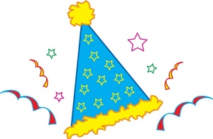 Free Party Hat Clip Art Image: Birthday Party Hat with Confetti and  Streamers