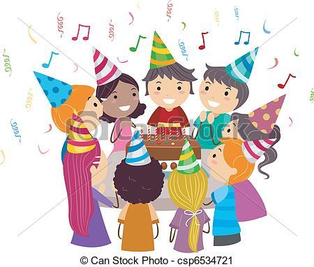 ... Birthday Party - Illustration of Kids Gathered Around a.