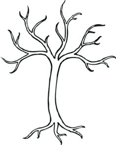 black and white bare tree clipart