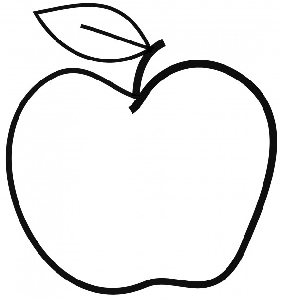Black and White Apple Clipart