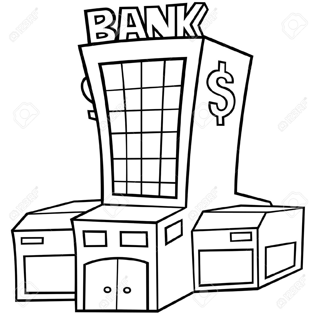 Black and White Bank Clipart